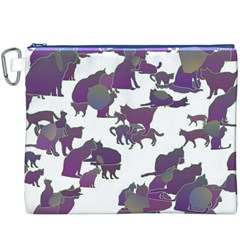 Many Cats Silhouettes Texture Canvas Cosmetic Bag (xxxl)