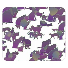 Many Cats Silhouettes Texture Double Sided Flano Blanket (Small)