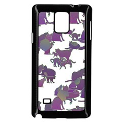Many Cats Silhouettes Texture Samsung Galaxy Note 4 Case (black)