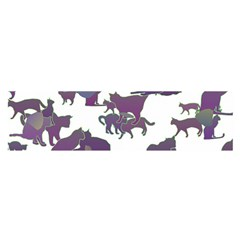 Many Cats Silhouettes Texture Satin Scarf (Oblong)