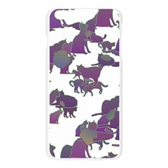 Many Cats Silhouettes Texture Apple Seamless iPhone 6 Plus/6S Plus Case (Transparent)