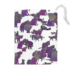 Many Cats Silhouettes Texture Drawstring Pouches (Extra Large)