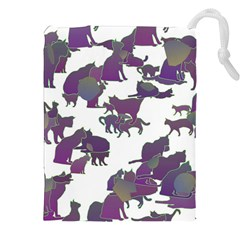 Many Cats Silhouettes Texture Drawstring Pouches (xxl)
