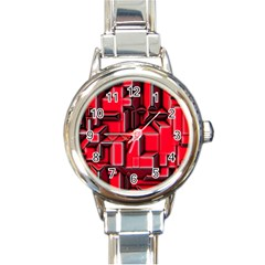 Background With Red Texture Blocks Round Italian Charm Watch