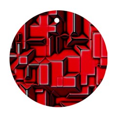 Background With Red Texture Blocks Ornament (round)