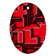 Background With Red Texture Blocks Ornament (oval)