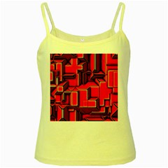 Background With Red Texture Blocks Yellow Spaghetti Tank