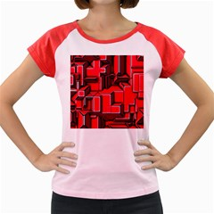 Background With Red Texture Blocks Women s Cap Sleeve T Shirt
