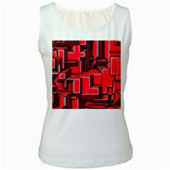 Background With Red Texture Blocks Women s White Tank Top