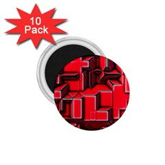Background With Red Texture Blocks 1.75  Magnets (10 pack)