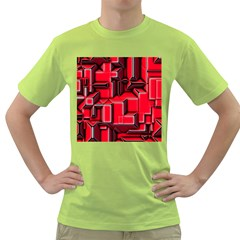 Background With Red Texture Blocks Green T Shirt