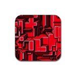 Background With Red Texture Blocks Rubber Coaster (Square)  Front
