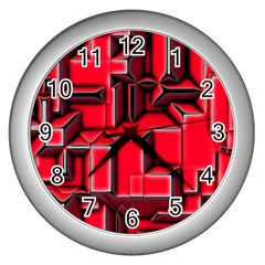 Background With Red Texture Blocks Wall Clocks (silver)