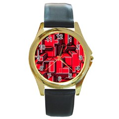 Background With Red Texture Blocks Round Gold Metal Watch