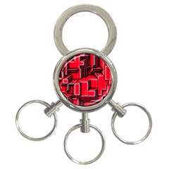 Background With Red Texture Blocks 3 Ring Key Chains