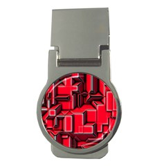 Background With Red Texture Blocks Money Clips (round)