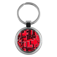 Background With Red Texture Blocks Key Chains (round)