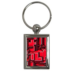 Background With Red Texture Blocks Key Chains (rectangle)
