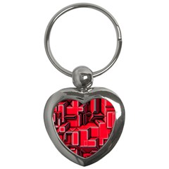 Background With Red Texture Blocks Key Chains (heart)
