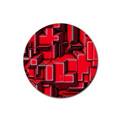 Background With Red Texture Blocks Rubber Round Coaster (4 pack)