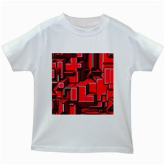 Background With Red Texture Blocks Kids White T Shirts