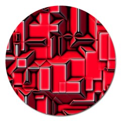 Background With Red Texture Blocks Magnet 5  (round)