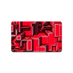 Background With Red Texture Blocks Magnet (name Card)