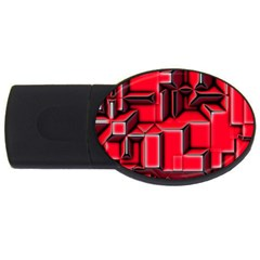 Background With Red Texture Blocks Usb Flash Drive Oval (2 Gb)