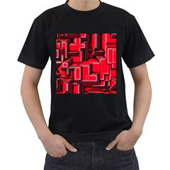 Background With Red Texture Blocks Men s T Shirt (black) (two Sided)