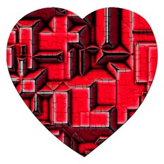 Background With Red Texture Blocks Jigsaw Puzzle (heart)