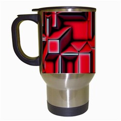 Background With Red Texture Blocks Travel Mugs (white)