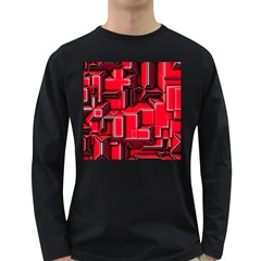 Background With Red Texture Blocks Long Sleeve Dark T Shirts