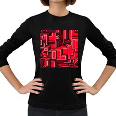 Background With Red Texture Blocks Women s Long Sleeve Dark T Shirts