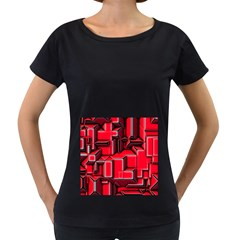 Background With Red Texture Blocks Women s Loose Fit T Shirt (black)