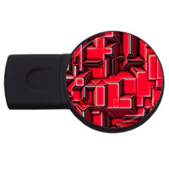 Background With Red Texture Blocks Usb Flash Drive Round (4 Gb)