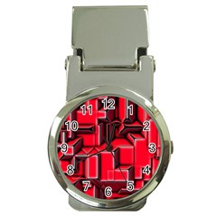 Background With Red Texture Blocks Money Clip Watches