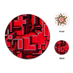 Background With Red Texture Blocks Playing Cards (round)