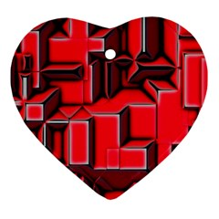 Background With Red Texture Blocks Heart Ornament (two Sides)