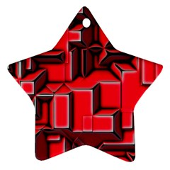 Background With Red Texture Blocks Star Ornament (two Sides)