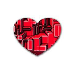 Background With Red Texture Blocks Rubber Coaster (heart)