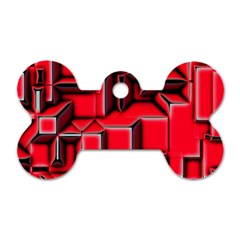 Background With Red Texture Blocks Dog Tag Bone (one Side)
