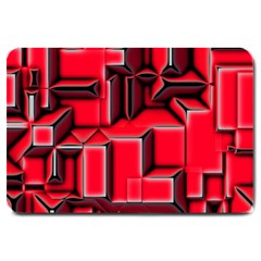Background With Red Texture Blocks Large Doormat