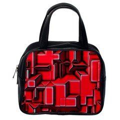 Background With Red Texture Blocks Classic Handbags (one Side)