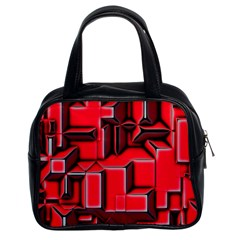 Background With Red Texture Blocks Classic Handbags (2 Sides)