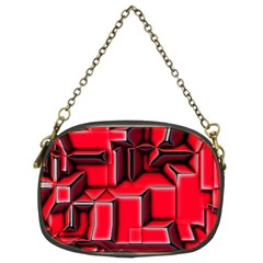 Background With Red Texture Blocks Chain Purses (two Sides)