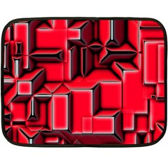 Background With Red Texture Blocks Double Sided Fleece Blanket (mini)