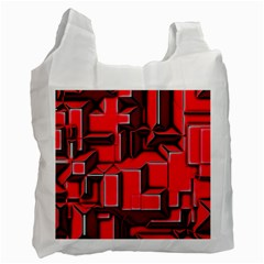 Background With Red Texture Blocks Recycle Bag (two Side)