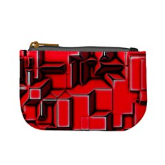 Background With Red Texture Blocks Mini Coin Purses
