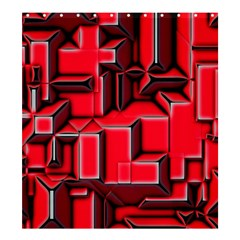 Background With Red Texture Blocks Shower Curtain 66  X 72  (large)
