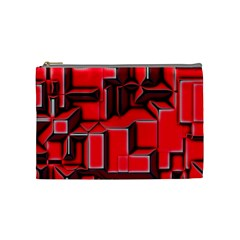 Background With Red Texture Blocks Cosmetic Bag (medium)
